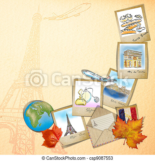 drawing famouse landmark of France in photo frame - csp9087553