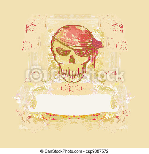 Skull Pirate - retro card - csp9087572