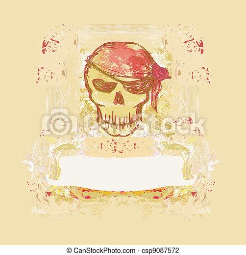 Skull Pirate - retro card - csp9087572