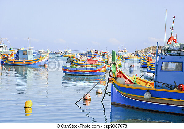 Colorful fishing boats at harbour of Malta - csp9087678