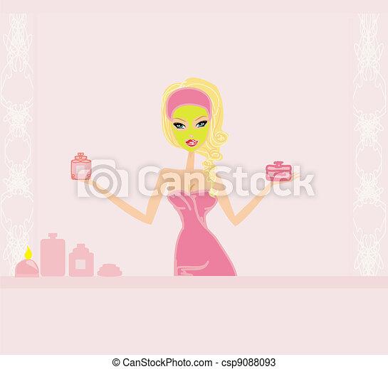 pretty girl enjoying elegant spa  - csp9088093