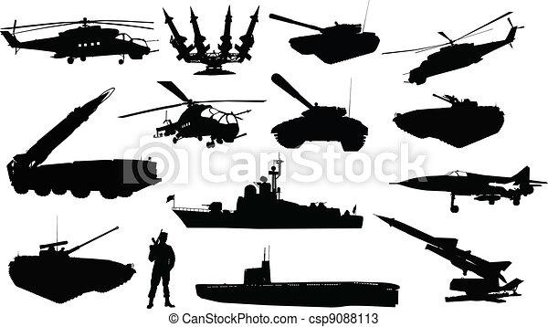 Military silhouettes  set   - csp9088113