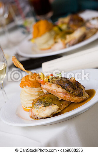 food on a plate during a catered event - csp9088236