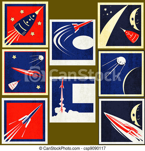 Retro Space Rockets Vintage Labels - csp9090117
