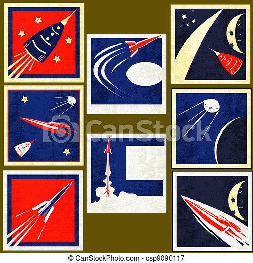 Retro Space Rockets Vintage Labels - csp9090117