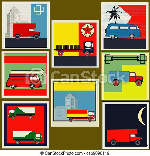 Set of retro Van and Lorry vintage labels - csp9090119
