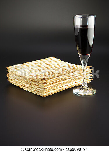 Jewish religious feast Passover traditional food Matza and red wine - csp9090191