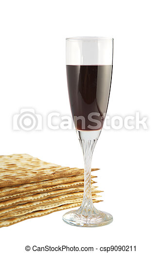 Jewish religious feast Passover traditional food Matza and red wine - csp9090211