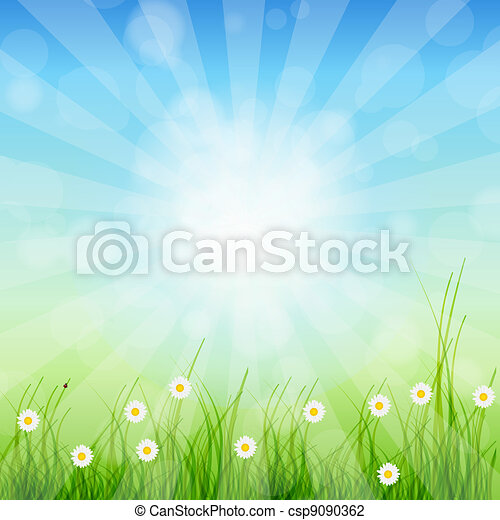 Summer Abstract Background with grass and tulips against sunny sky. Vector illustration. - csp9090362