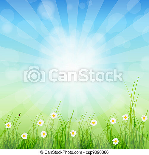 Summer Abstract Background with grass and chamomile against sunny sky. Vector illustration. - csp9090366