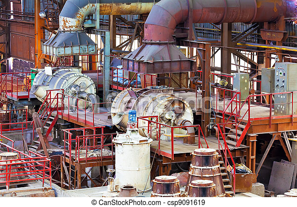 Foundry equipment in casting hangar of metallurgical plant - csp9091619