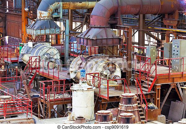 Foundry equipment in casting hangar of metallurgical plant - csp9091619
