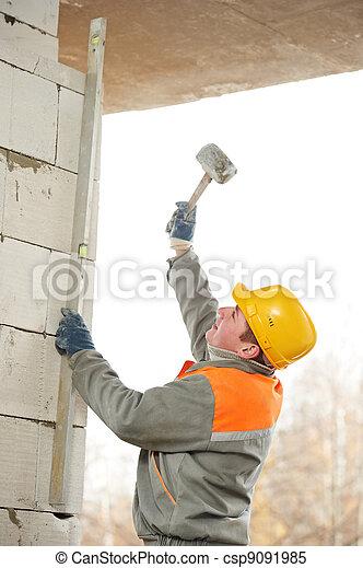 construction mason worker bricklayer - csp9091985