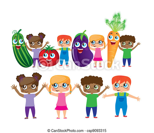 childs with vegetables cartoons - csp9093315
