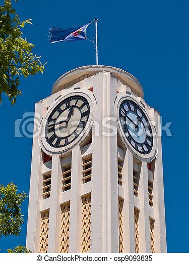 images de blanc deco art tour horloge blanc art deco horloge csp9093635. Black Bedroom Furniture Sets. Home Design Ideas