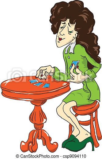 Vector Clipart of Fortune Teller with cards - Fortune Teller at ...
