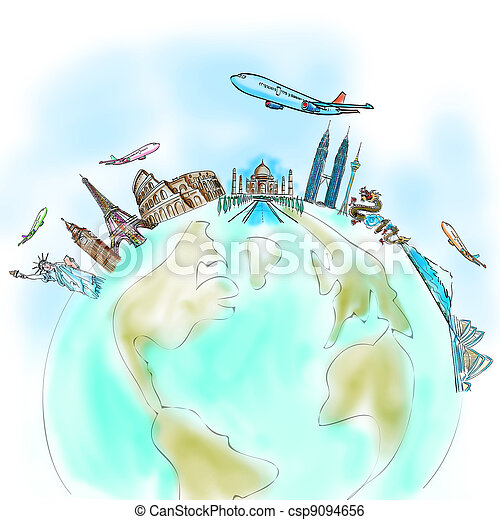 drawing the dream travel around the world in a whiteboard - csp9094656