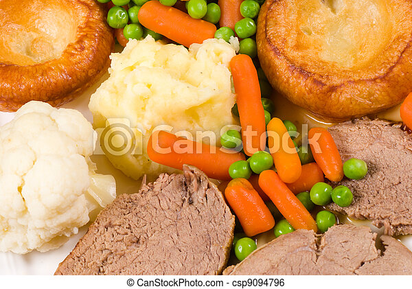 tradicional, inglês, Domingo, almoço - csp9094796