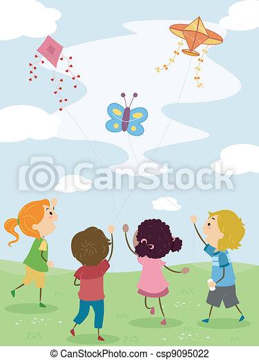 Kids Flying Kites - csp9095022
