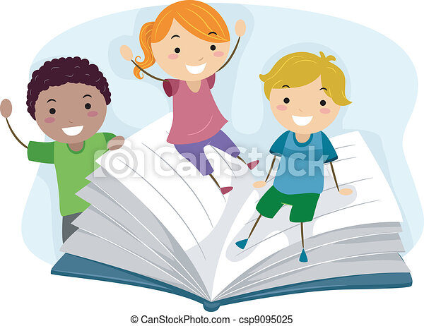 Children Playing with a Book - csp9095025