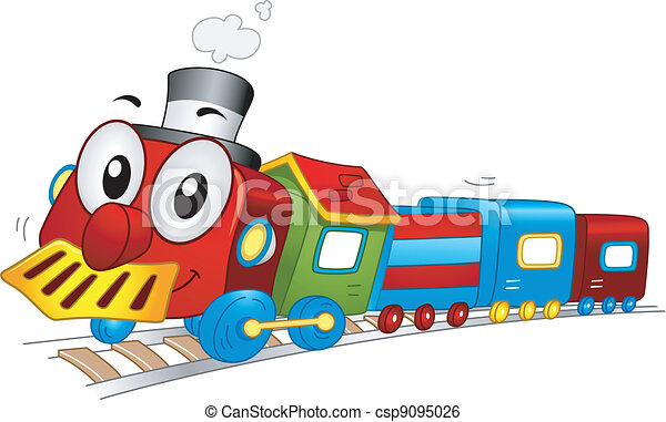 Clip Art Vector of Toy Train Mascot - Illustration of a ...