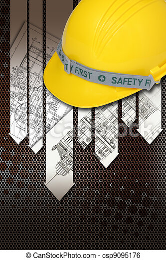 Helmet of constructor with blueprints building construction - csp9095176