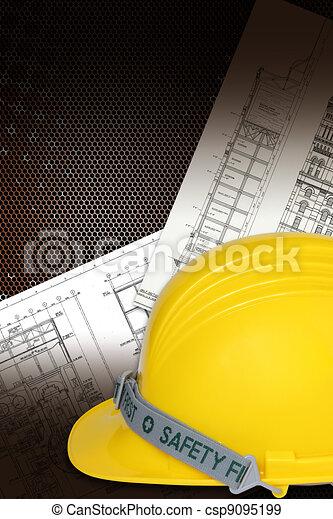 Helmet of constructor with blueprints building construction - csp9095199