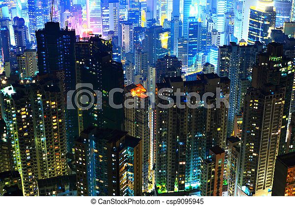 Hong Kong with crowded buildings at night - csp9095945