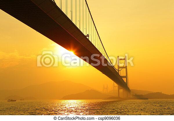 tsing ma bridge in sunset - csp9096036