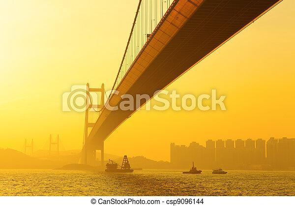 tsing ma bridge in sunset - csp9096144