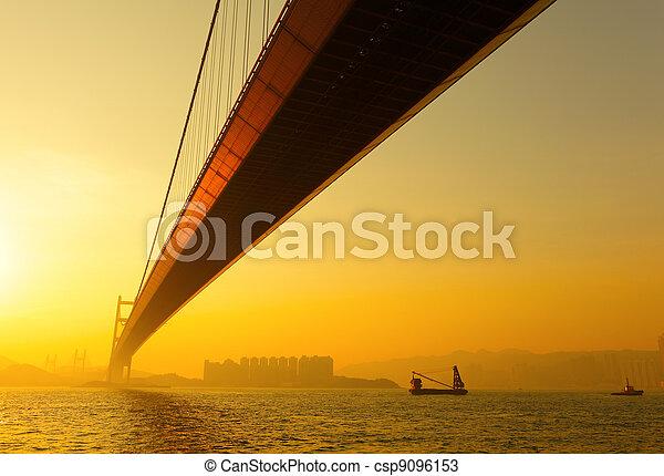 tsing ma bridge in sunset - csp9096153