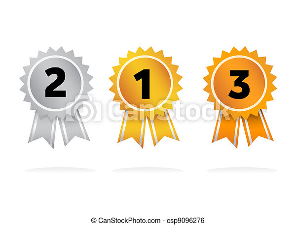 Prize badges gold bronze silver  - csp9096276