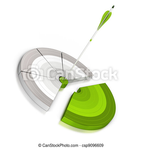 pie chart with an arrow hitting the center, 3d render, the green slice is detached from the rest of the graph, white background with reflection - csp9096609