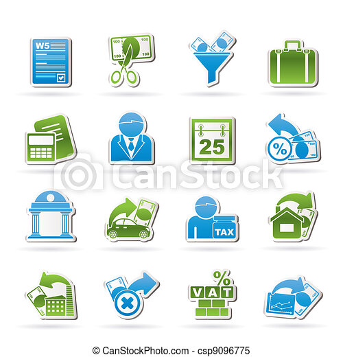 Taxes, business and finance icons - csp9096775