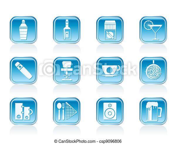 Night club, bar and drink icons - csp9096806