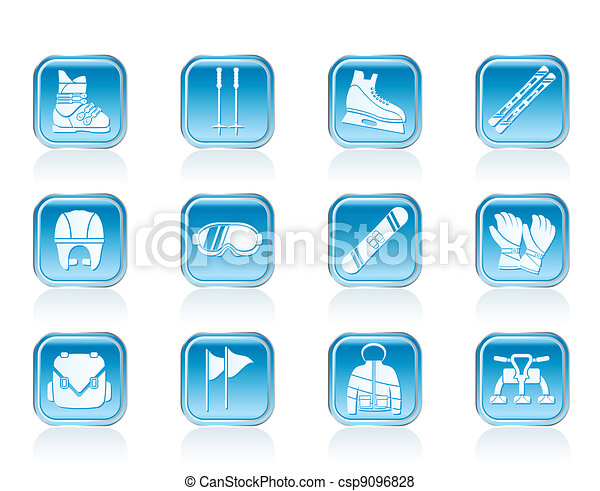 ski and snowboard equipment icons - csp9096828