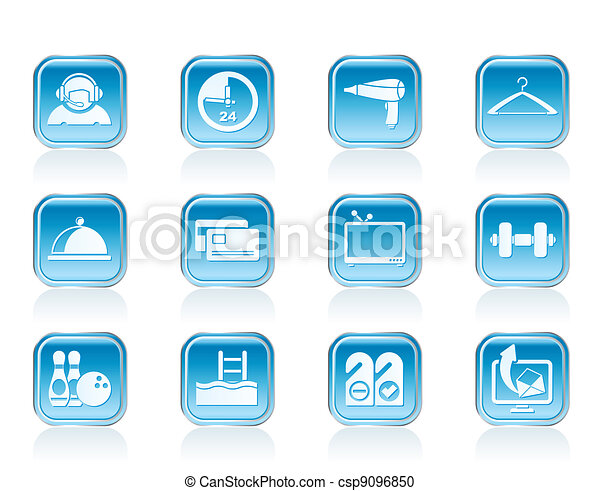 hotel and motel amenity icons - csp9096850