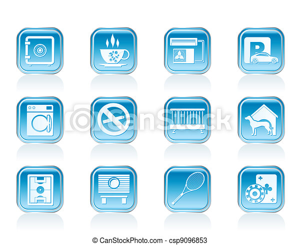 hotel and motel amenity icons - csp9096853