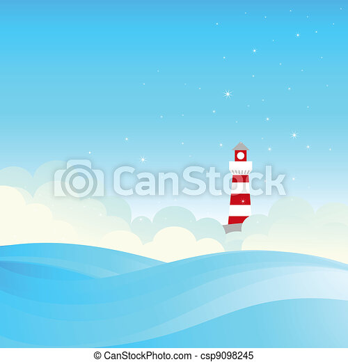 Lighthouse on the sea fairy shore.  - csp9098245
