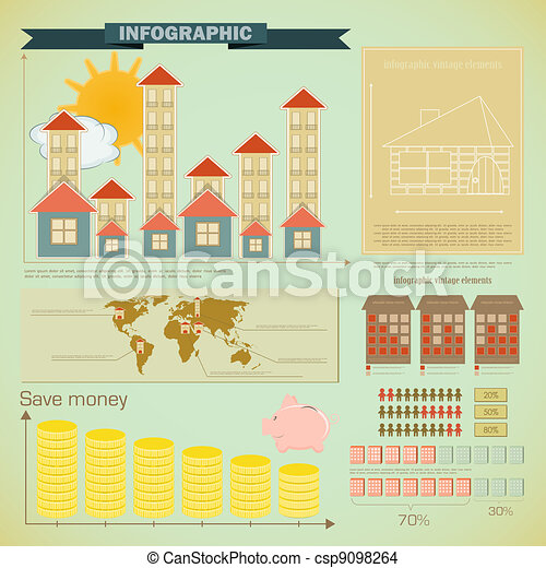 Vintage infographics set - house construction - csp9098264