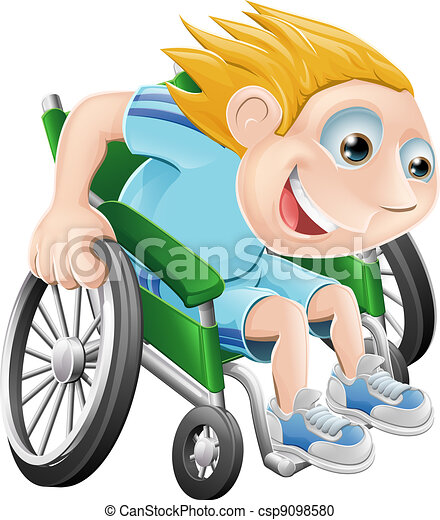 Wheelchair racing cartoon man - csp9098580