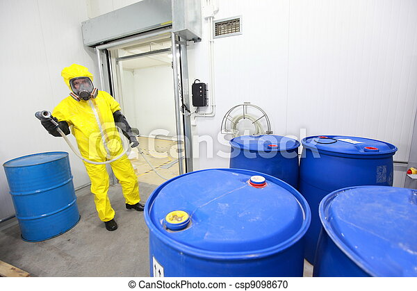 worker dealing with toxic substance - csp9098670