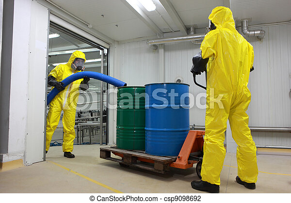 workers working with toxic waste - csp9098692