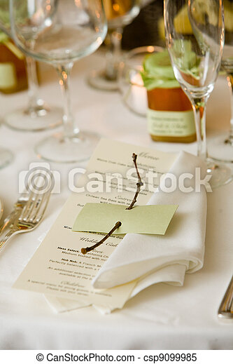 Wedding table with menu - csp9099985