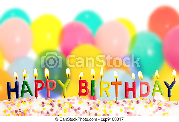 Happy birthday lit candles on colorful balloons background - csp9100017