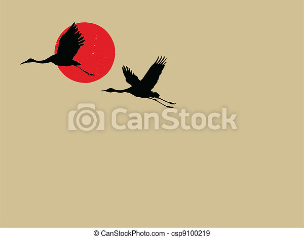two cranes on brown background - csp9100219