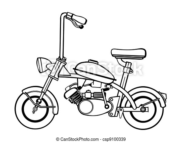 moped silhouette on white background, - csp9100339