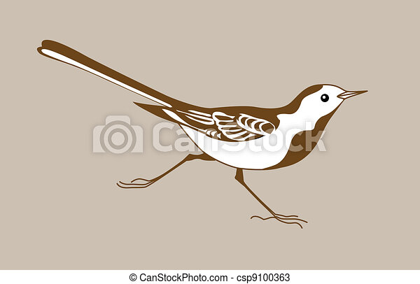 wagtail silhouette on brown  background - csp9100363