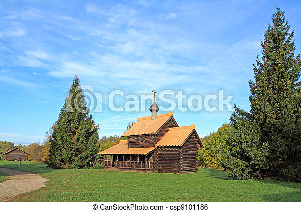 aging wooden chapel in village - csp9101186