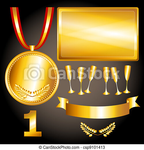 Gold elements for games and  sports - csp9101413